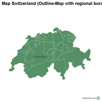 Map Switzerland (Outline-Map with regional borders)