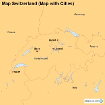 Map Switzerland (Map with Cities)