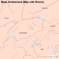 Maps Switzerland (Map with Rivers)
