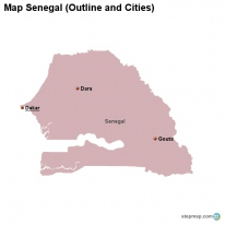 Map Senegal (Outline and Cities)
