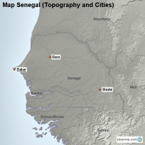 Map Senegal (Topography and Cities)