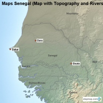 Maps Senegal (Map with Topography and Rivers)