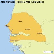Map Senegal (Political Map with Cities)