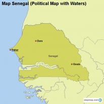Map Senegal (Political Map with Waters)