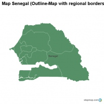 Map Senegal (Outline-Map with regional borders)