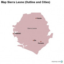 Map Sierra Leone (Outline and Cities)