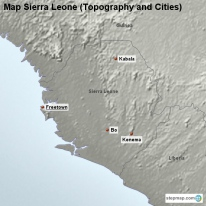 Map Sierra Leone (Topography and Cities)