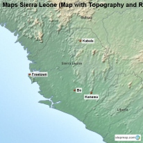 Maps Sierra Leone (Map with Topography and Rivers)