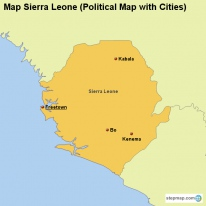 Map Sierra Leone (Political Map with Cities)