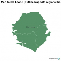 Map Sierra Leone (Outline-Map with regional borders)