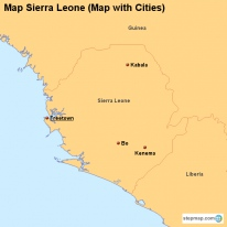 Map Sierra Leone (Map with Cities)