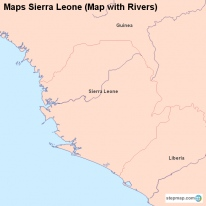 Maps Sierra Leone (Map with Rivers)