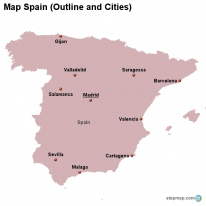 Map Spain (Outline and Cities)