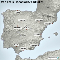 Map Spain (Topography and Cities)