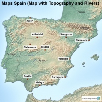Maps Spain (Map with Topography and Rivers)