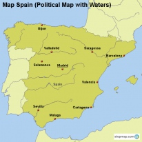 map spain political map with waters