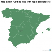Map Spain (Outline-Map with regional borders)