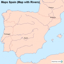 Maps Spain (Map with Rivers)