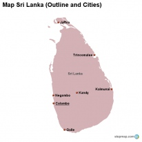 Map Sri Lanka (Outline and Cities)