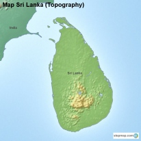 Map Sri Lanka (Topography)