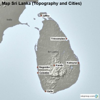 Map Sri Lanka (Topography and Cities)