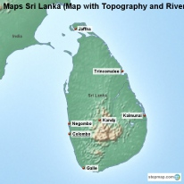 Maps Sri Lanka (Map with Topography and Rivers)