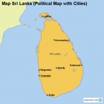 Map Sri Lanka (Political Map with Cities)