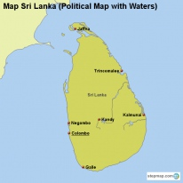 Map Sri Lanka (Political Map with Waters)