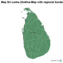 Map Sri Lanka (Outline-Map with regional borders)