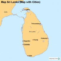 Map Sri Lanka (Map with Cities)