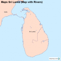 Maps Sri Lanka (Map with Rivers)