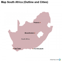 Map South Africa (Outline and Cities)