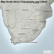 Map South Africa (Topography and Cities)