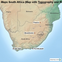 Maps South Africa (Map with Topography and Rivers)