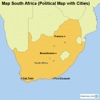 Map South Africa (Political Map with Cities)