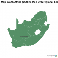 Map South Africa (Outline-Map with regional borders)