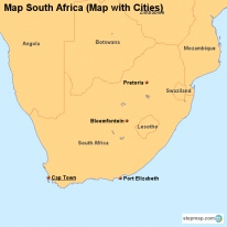 Map South Africa (Map with Cities)