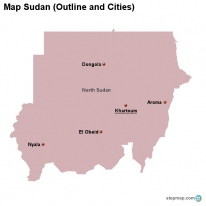 Map Sudan (Outline and Cities)