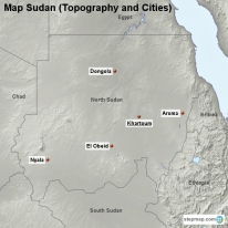 Map Sudan (Topography and Cities)