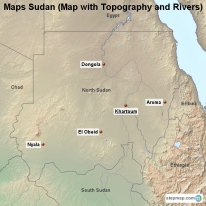 Maps Sudan (Map with Topography and Rivers)