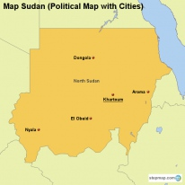 Map Sudan (Political Map with Cities)