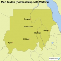 Map Sudan (Political Map with Waters)