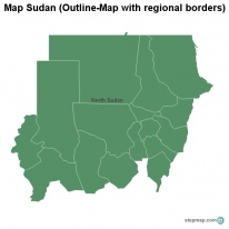 Map Sudan (Outline-Map with regional borders)