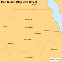 Map Sudan (Map with Cities)