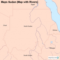 Maps Sudan (Map with Rivers)