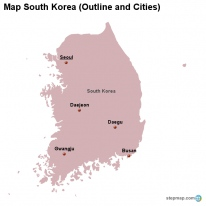Map South Korea (Outline and Cities)