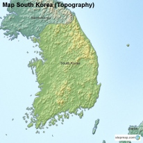 Map South Korea (Topography)
