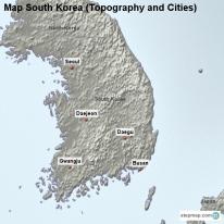 Map South Korea (Topography and Cities)