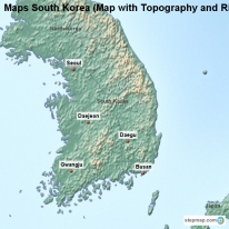 Maps South Korea (Map with Topography and Rivers)