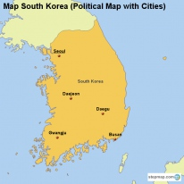 Map South Korea (Political Map with Cities)